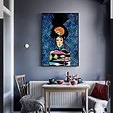 RTCKF Arte Astratta Fiore Donne Uccello Muro Dipinto su Tela Poster Nordico e Immagine da Parete Stampata per Soggiorno Arredamento Moderno (Senza Cornice) A2 60x90CM