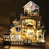 iBellete Doll Houses,DIY House Model Kit With Music Box, Sea Villa Miniature Dollhouse For Kids And Adults Christmas Birthday Gift