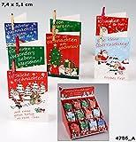 Depesche 4786 Weihnachtskarten mit Klammer 12er Set (12 Stück) - 12 verschiedene Ausführungen im Set - 12 Karten mit verschiedenen Sprüchen und Motiven