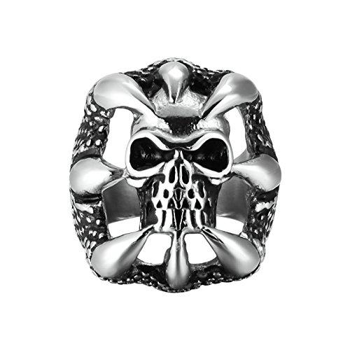 Adisaer Edelstahl Herren Ring Dragon Klaue Schädel DrachenklauenSilber Schwarz Ringe Größe 54 (17.2) Für Männer Ring (Dragon Glück Kostüm)