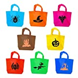 Maplelon Halloween Candy Bags | Trick or Treat Tote Bag | Colorful Handy Bag for Goodies, Costumes, Sweets, Decorations, Party Favors - Pack of 8