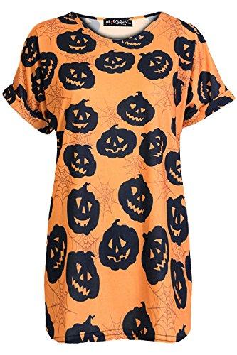 Oops Outlet Damen Top Damen Halloween Kürbis Bat Web Spinne Mond Baggy Übergröße Gekrempelt Flügelärmel T-shirt - Kürbisse Orange, Übergröße (T Für Halloween Frauen Shirts)
