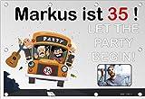 140x96 cm XL Geburtstagsbanner für Männer zum runden oder halbrunden Geburtstag mit Foto, Name und Alter personalisierbar - Geburtstags-Banner - Let the Party begin GEB14M