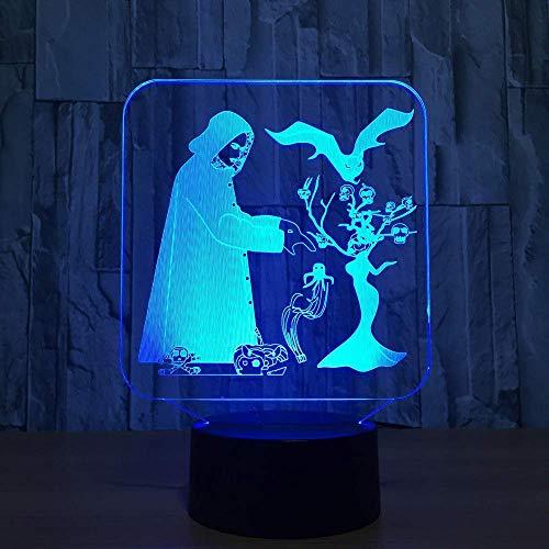 Halloween LED Nachtlicht USB Farbe Veränderbar Stimmung Lampe Schlafzimmer Tischlampe Kreative Dekor Kinder Freunde Familie Geschenke ()