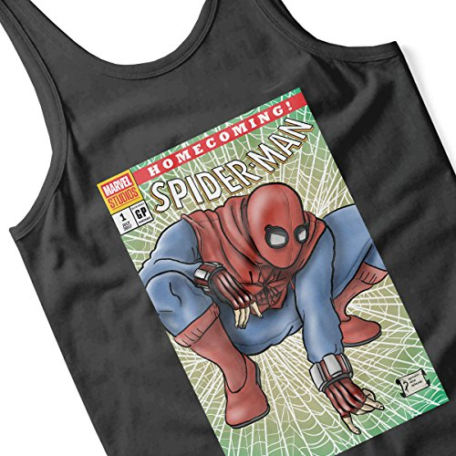 Spider Man Homecoming Comic Cover Women's Vest Black