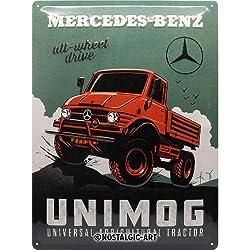 Nostalgic-Art 23269 Mercedes-Benz-Unimog, Retro Blechschild 30x40 cm, Metall, bunt, 30x 40 cm