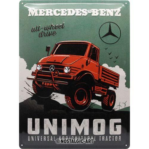 Nostalgic-Art 23269 Mercedes-Benz-Unimog, Retro Blechschild 30x40 cm, Metall, bunt 30x 40 cm