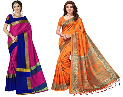 Art Décor Sarees Women\'s Blue Color Art Silk Golden Zari Saree With Blouse
