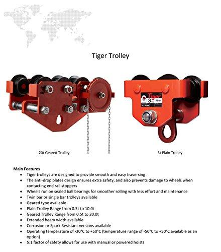 Tiger amz1022996TGT Geared fascio da viaggio/trolley per profilati, doppia barra, 3.0tonnellate, larghezza: 88mm-230mm