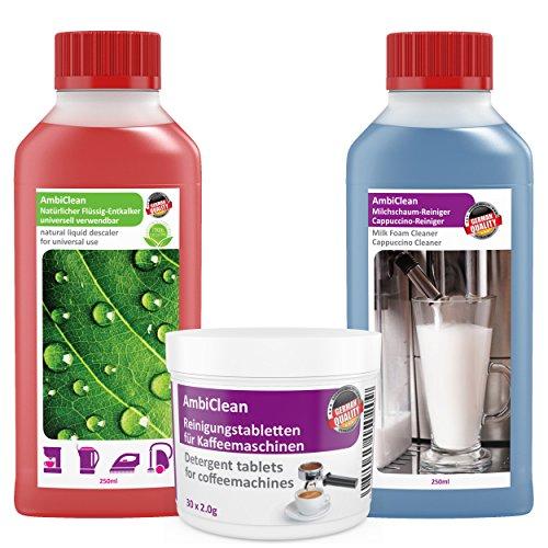 Kaffeemaschinen Reiniger-Set 30 Reinigungstabletten 250ml Flüssig-Entkalker & Milchschaum-Reiniger...