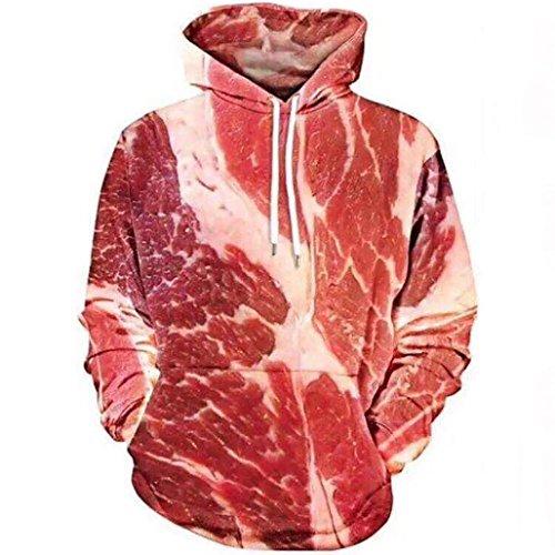 TWIFER Unisex 3D Printed Raw Fleisch Pullover Langarm mit Kapuze Sweatshirt Bluse (M, Rot) (Motorrad-kinder Sweatshirt)