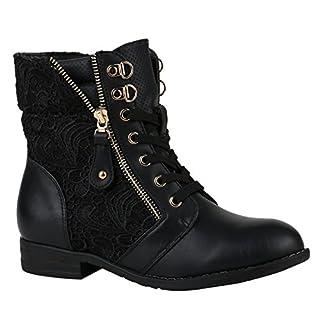 Stylische Damen Stiefeletten Worker Boots Knöchelhohe Stiefel Gesteppt Damen Leder-Optik Zipper Schuhe 144305 Schwarz Zipper 40 Flandell