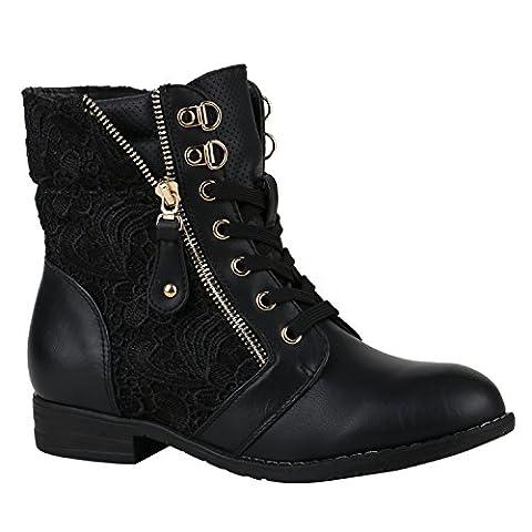 Stylische Damen Stiefeletten Worker Boots Knöchelhohe Stiefel Gesteppt Damen Leder-Optik Zipper Schuhe 144305 Schwarz Zipper 38 |