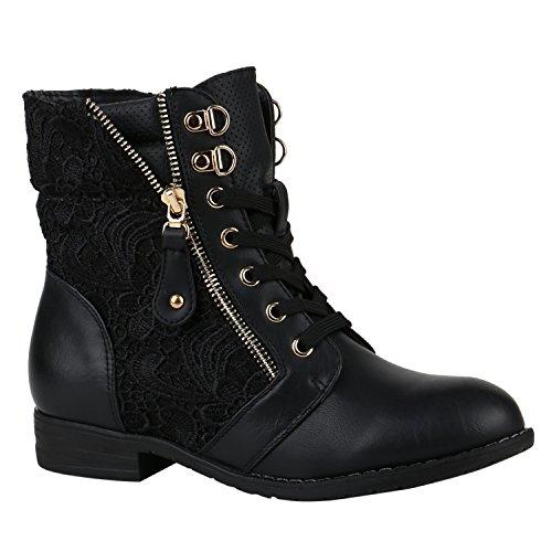 Frauen Schwarz Schuhe Für (Stylische Damen Stiefeletten Worker Boots Knöchelhohe Stiefel Gesteppt Damen Leder-Optik Zipper Schuhe 144305 Schwarz Zipper 39 |)