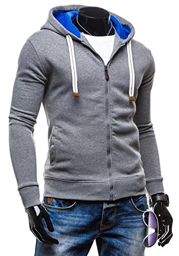 BOLF – Sweat-shirt à capuche – Fermeture éclair – LAVE H37 – Homme Gris-Bleu