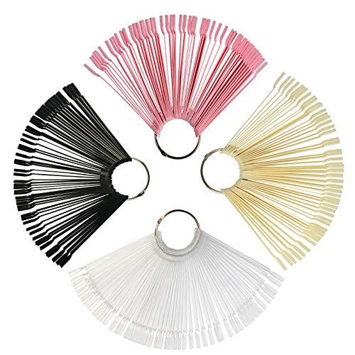 ZERHOK 200Stk Nail Art Tips Stick Display Nagel Salon Übungen Nagellack Farbpalette Aufsteller mit Metallspaltring Halter (Nagellack Der Praxis)