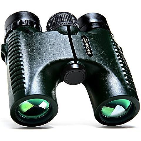 USCAMEL® HD 10x26 Prismáticos Militar Binoculars Rango larga verde de 5.000 metros Profesional Telescopio plegable impermeable Amplio Ángulo de Visión Caza compacto tamaño de