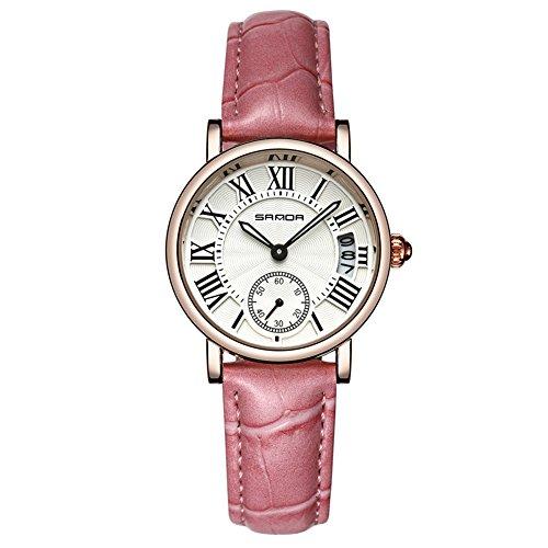 yuyte Frauen Quarzuhren, Dame Analog Round Quartz Lederband Datum Klassische Armbanduhr(#06) (Mk Armbändern Für Frauen Verkauf)