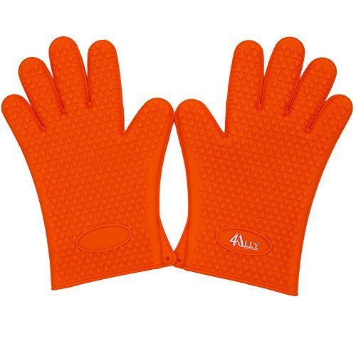 Flexible Silikon Handschuhe hitzebeständig Ofen Silikon Handschuhe für Grillen, BBQ, Küche mit fünf Fingern | Sichere Handhabung der Töpfe und Pfannen | Kochen und Backen rutschfest Küchenhandschuh (Bücken Handschuhe)