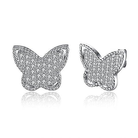 FushoP 925 Sterling Silber Schein Schmetterling Zirkonia Ohrstecker (Weiß)