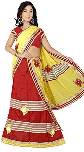 "Assamese Mekhela Chadar ""SALINI""(YELLOW-RED)"