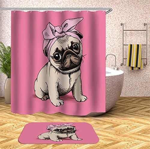 Kwboo Tierdekoration. Hund Mit Einem Stirnband Auf Einem Rosa Hintergrund. Duschvorhang. Wasserdicht. Einfach zu säubern. 180X180Cm. Teppich. Plus Samt. rutschfest. 40X60Cm. (Hintergrund Duschvorhang)