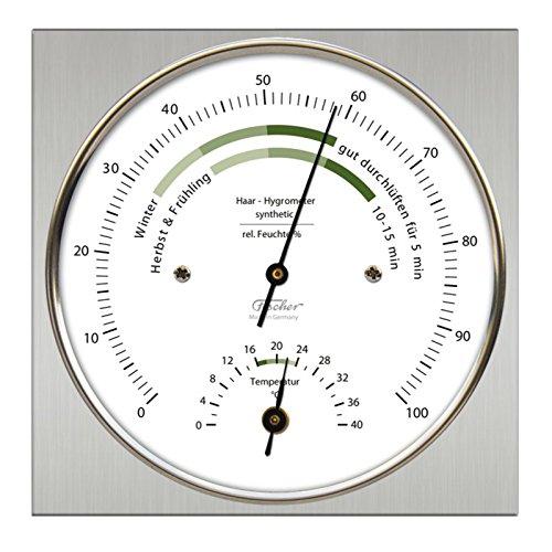 Fischer Raumklima Hygrometer mit Thermometer, Edelstahl