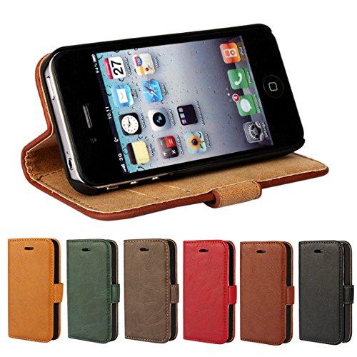 iPhone 4 hülle, iPhone 4s Holster hülle,Bookstyle Handyhülle Premium PU Leder Tasche Flip Case Brieftasche Etui Handy Schutz Hülle für Apple iPhone 4 / 4s / - Rot Blau