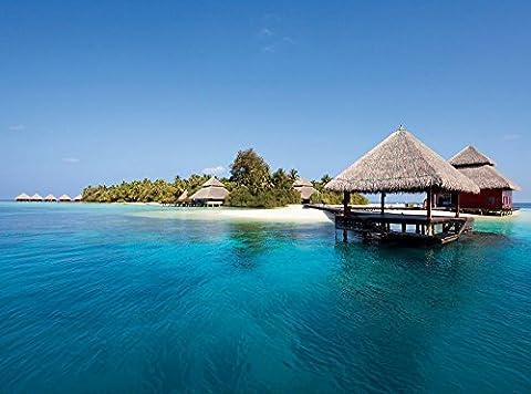 Wasserbungalows Water Bungis Malediven Foto-Tapete 4-teilig - Fototapete Wallpaper 232x315cm. Beigelegt sind eine Packung Kleber und eine