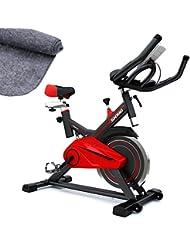 Sportstech Vélo d'appartement SX100 Vélo de Biking, poids d'inertie de 13 KG, support capitonné pour bras, selle confortable avec amortisseur, vélo d'intérieur silencieux, incl. Tapis de protection