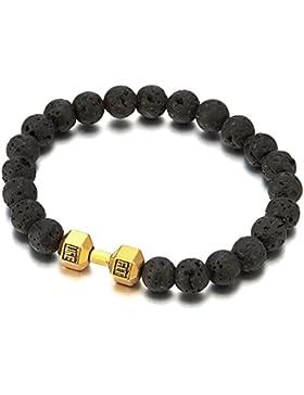 9MM Herren Schwarz Vulkanisch Lava-Felsen Stein Perlen Armband mit Gold Farben Langhantel Hantel, Prayer Mala