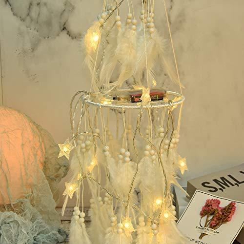 Atrapasueños, atrapasueños Redondos Hechos a Mano con Luces de Hadas LED en Movimiento para la decoración de la Boda, decoración de Fiesta Boho Chic, tapices de Dormitorio y Regalos para niñas