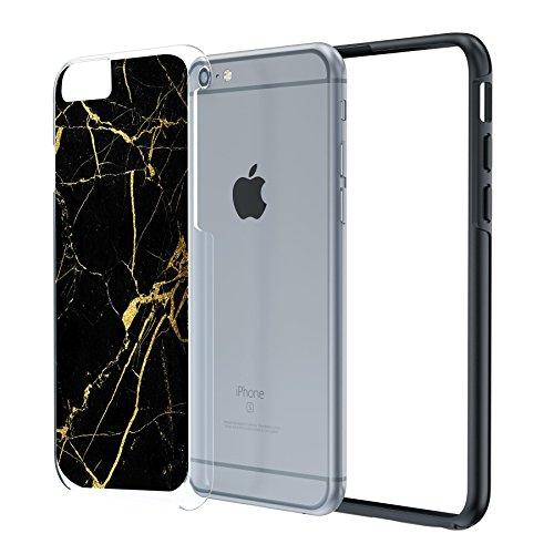 iPhone 6 6s Plus 14cm langlebige Schutzhülle Cover / Case / Hülle / Fall, True Color® Weißer Marmor [Kollektion Stein-Textur] Slim Hybrid Hartschale + Soft-TPU-Bumper [True Protect Serie] iPhone 6 / 6 Schwarz-goldener Marmor