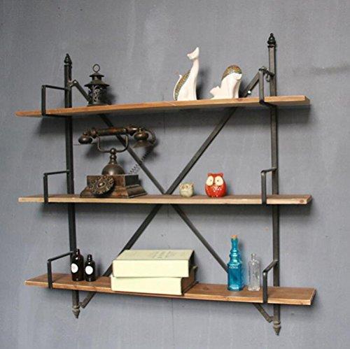 Shelves DUO Bücherregal Möbel 3-Tier Vintage Industrial Eisen Wandregal, rustikale Halterung für Regale, Vintage Brown 100W × 17D × 100H - Vintage Bücherregal Industrial