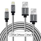 [2 Packe]Iphone cable Delippo® 3.3ft/1M Nylon Ummanteltes USB Kabel Datenkabel mit Blitz-Anschluss [Apple MFi Zertifiziert] für iPhone Iphone 7 6/6 Plus, iPad Air 2 usw(grau)