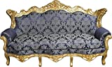 Casa Padrino Barock Sofa Master Royal Blau Muster / Gold - Wohnzimmer Couch Möbel Lounge