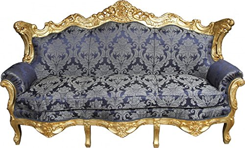 Casa Padrino Baroque sofa Master Royal Blue Pattern / Gold - living room couch furniture Lounge