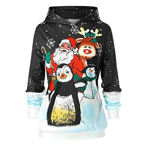 Auiyut Damen Weihnachten Kapuzenpullover Langarm Oberteil Schneemann Drucken Lose Pullover Weihnachtspulli Sweatshirt Christmas Hoodie S-5XL Gedruckte Tops