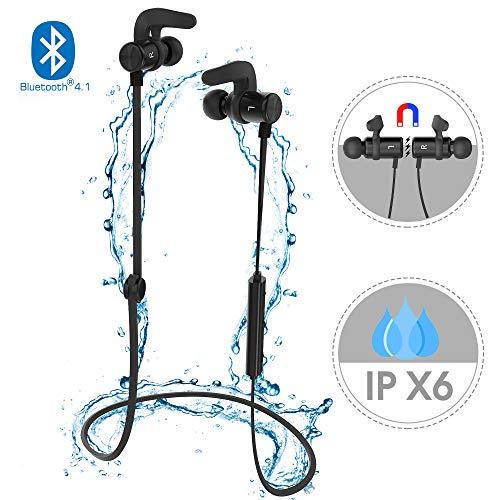 Bluetooth Kopfhörer, Gvoo Blutooth 4.1 IPX6 Wasserdicht Sportlich Magnet Stereo Ohrhörer Headset Earphone mit Mikrofon und Magnetverschluss für Handys, Pads, PS3, Computer usw. – Schwarz