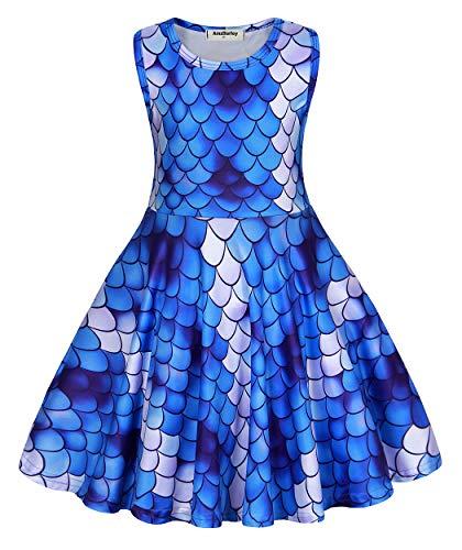 AmzBarley Meerjungfrau Kostüm Kinder Mädchen Kleid Cartton Party Outfit Kinder Kurzarm Geburtstag Dress up Sommer Sommerkleid Casual Playwear Kleid - Keinen Dress Up Kostüm