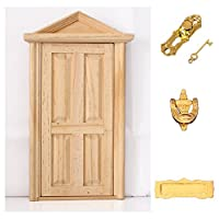 D DOLITY 1:12th Doll House Miniatures Furniture Wooden Door w. Hardware DIY Assembled