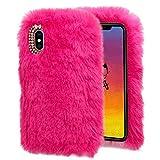 Hunpta@ Handy HüLle FüR iPhone XS Max 6.5Inch Luxus Kristall Bling Case Winter Warm Flauschigen Villi PlüSch Wolle Bling Case HüLle (Pink)