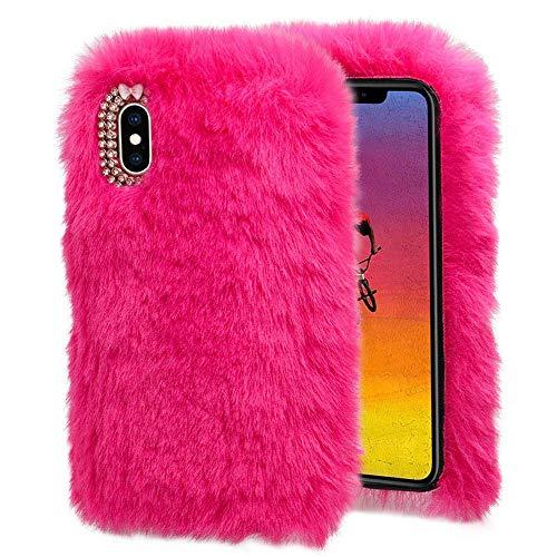 QINPIN Für iPhone XS Max 6.5inch warme Flauschige Villi Plüsch Wolle Bling Hülle Schutzhülle Helles Rosa