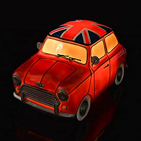 Amazlab Red Mini Cooper Bedside lamp Lantern, Warm White Glow, USB or Battery Powered, with 4 Hours