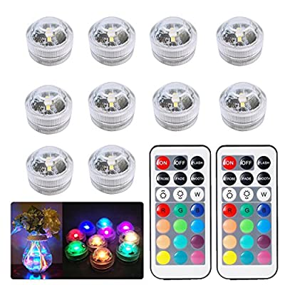 10pcs Submersible LED Lights Waterproof Underwater Lights SMD 3528 RGB Mood Lights for vase,bowls,Swimming Pool,Bathtub,aquarium and party decoration IR Remote Control by JRQ