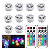 10pcs Submersible LED Lights Waterproof Underwater Lights SMD 3528 RGB Mood Lights for vase,bowls,Swimming Pool,Bathtub,aquarium and party decoration IR Remote Control Offer (Multi-Color + Unicolor)