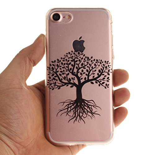iPhone 7 Hülle,iPhone 7 Hülle Case,iPhone 7 Silikon Hülle [Kratzfeste, Scratch-Resistant], Cozy Hut iPhone 7 (4,7 Zoll) Hülle TPU Case Schutzhülle Silikon Crystal Kirstall Clear Case Durchsichtig, Far Black Tree