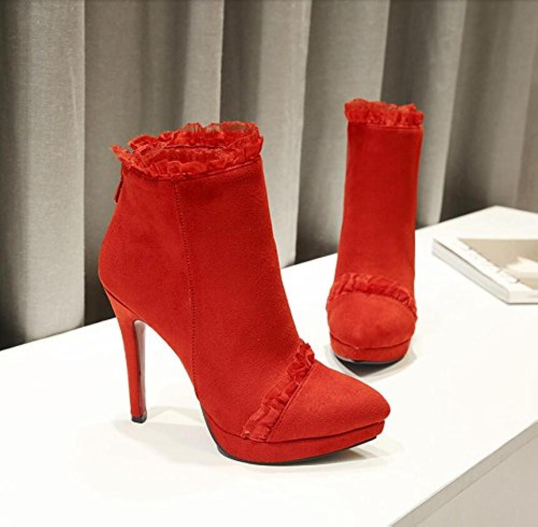 HGTYU-Boda Roja zapatos botas de invierno de 11cm de Punta Delgada y ultra alto con cremallera trasera y encaje...