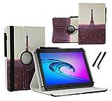 Case Cover für Aldi MEDION LIFETAB P10506 MD60036 Tablet Schutzhülle Etui mit Touch Pen & Standfunktion - 10.1 Zoll Paris Sun 360