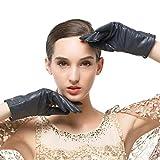 Nappaglo Damen klassische Lederhandschuhe Touchscreen Italienisches Lammfell Winter Warm Reines Kaschmir-Futter Handschuhe (L (Umfang der Handfläche:19.0-20.3cm), Dunkelmarineblau(Touchscreen))